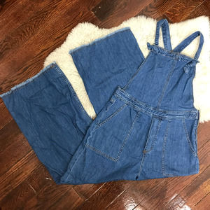 Current Air Los Angeles Fray Hem Wide Leg Overalls